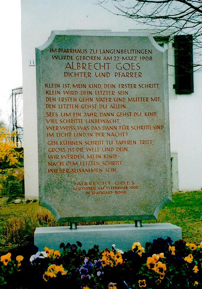 Albrecht Goes Gedenkstein In Langenbeutingen Ginkgo Medien